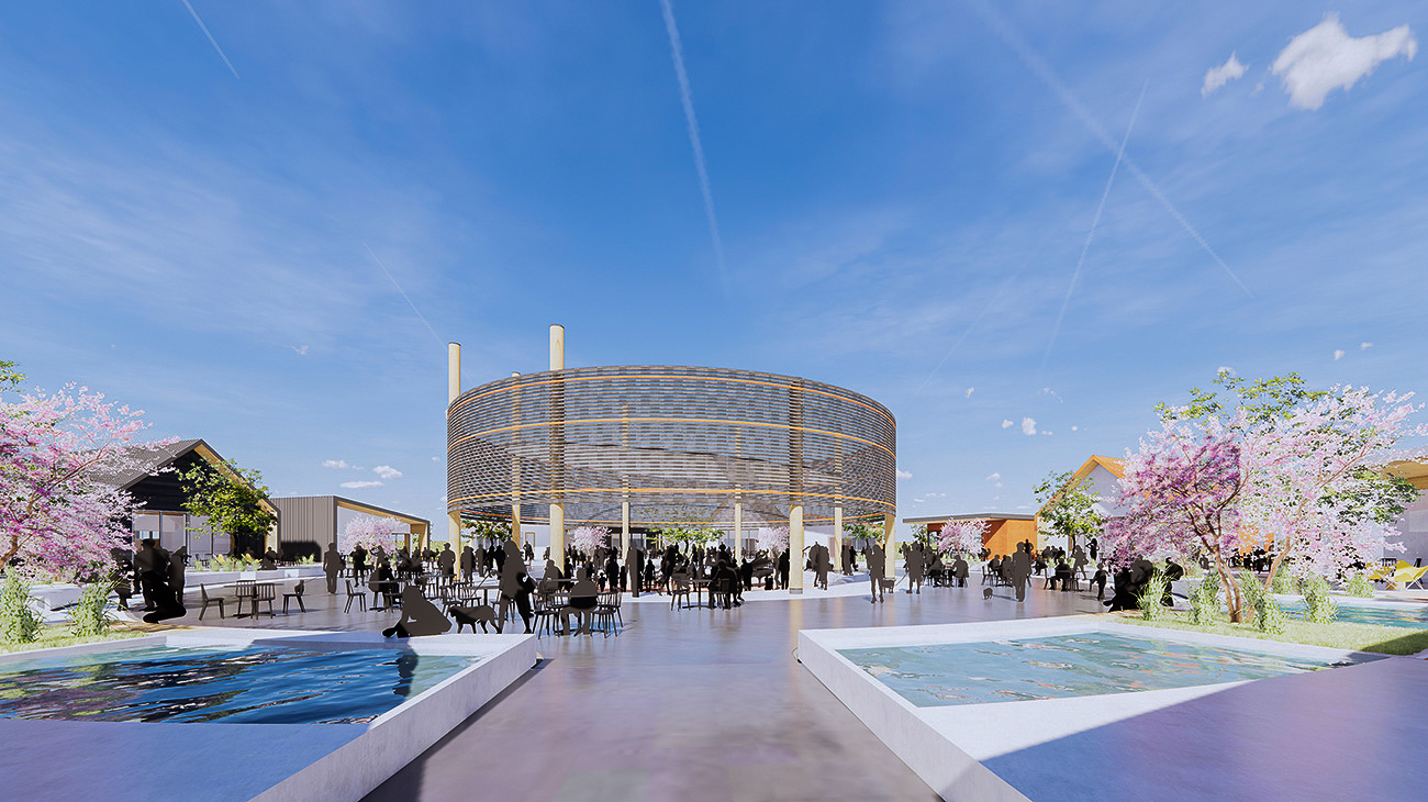 Rendering of the amphitheater in the centre of District Wine Village